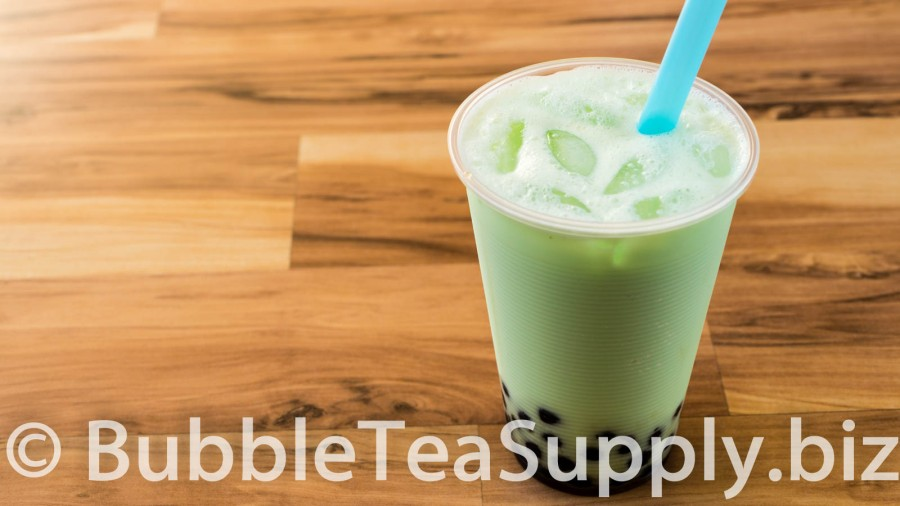 Honeydew Bubble Tea with Boba - 1