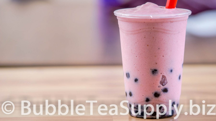 Strawberry Banana Smoothie with Boba Tapioca Pearls - 1