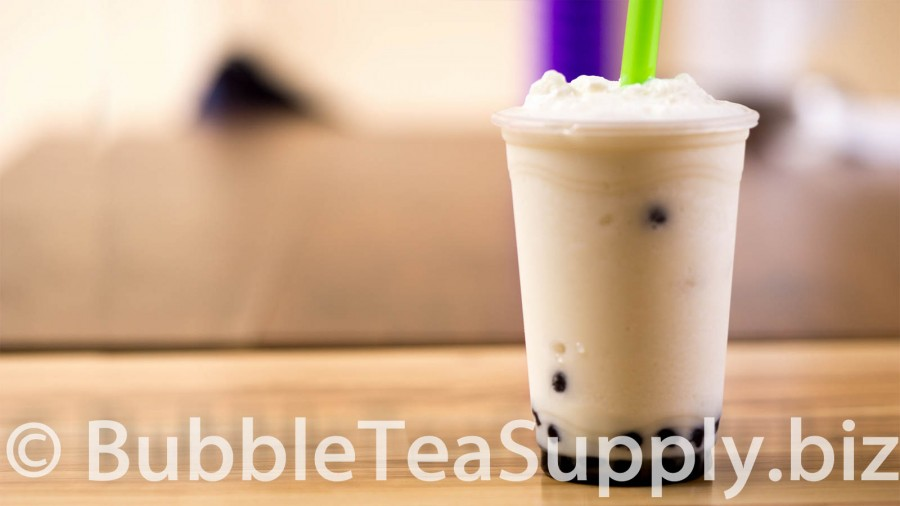 Pina Colada Bubble Tea with Boba Tapioca Pearls - 01