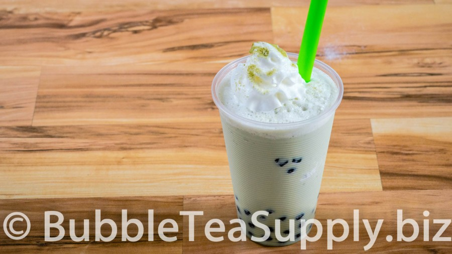Green Tea Latte Bubble Tea with Boba Tapioca Pearls - 01
