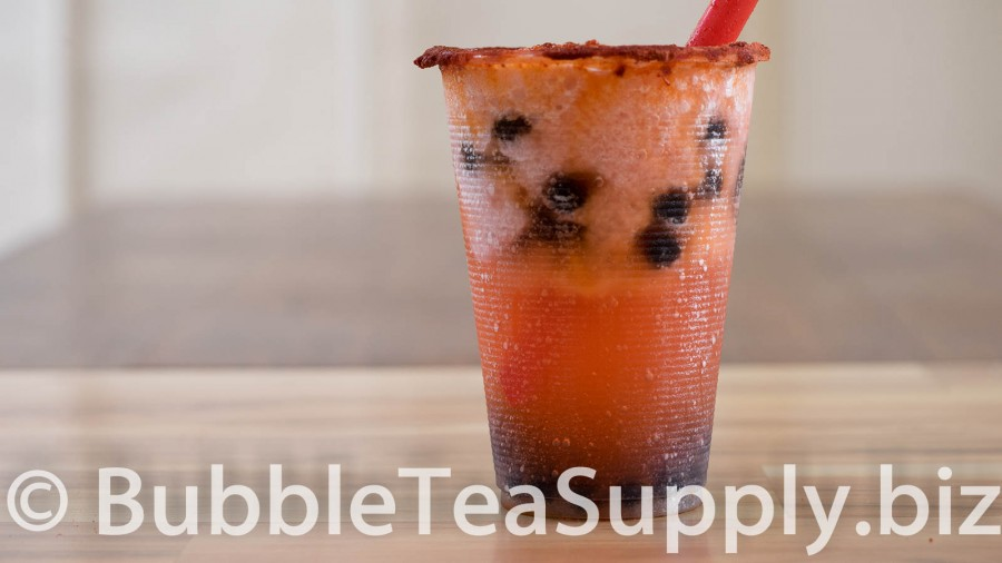 Strawberry Bubble Tea with Li Hing Powder and Boba Tapioca Pearls - 01