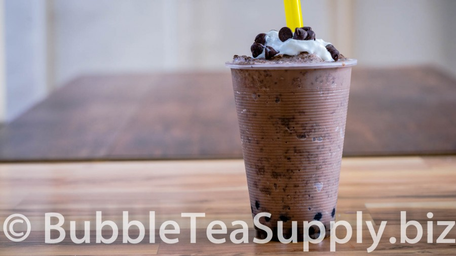 Chocolate Chocolate Chip Bubble Tea with Boba Tapioca Pearls - 01