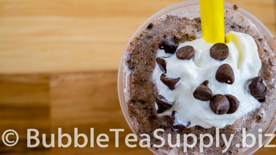 Chocolate Chocolate Chip Bubble Tea with Boba Tapioca Pearls - 02