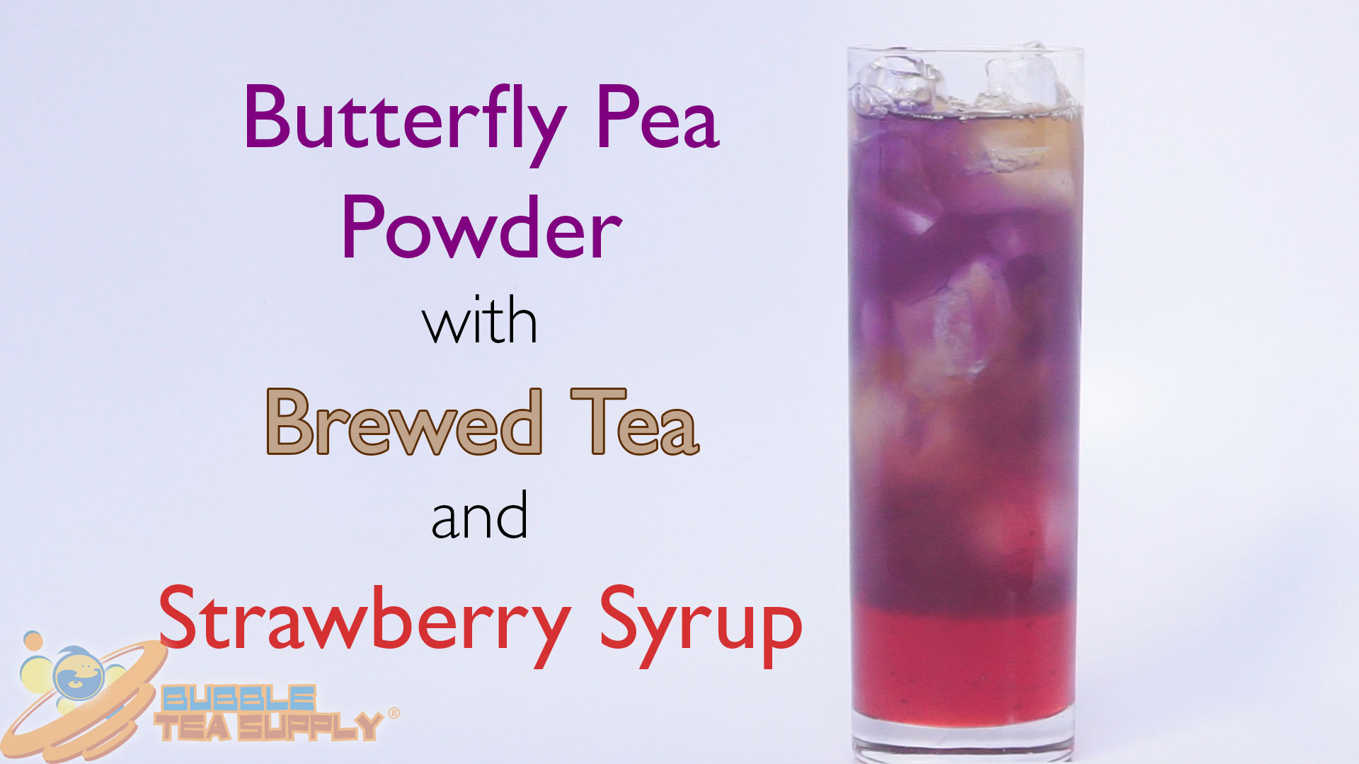 How to Make a Butterfly Pea with Brewed Tea and Strawberry Syrup Drink